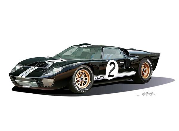 Wall Art - Drawing - Ford Gt 40 Illustration by Alain Jamar