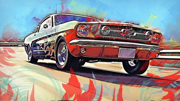 Painting - Ford Mustang Fastback 1966 - 07 by Andrea Mazzocchetti