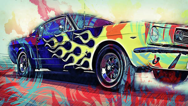 Painting - Ford Mustang Fastback 1966 - 08 by Andrea Mazzocchetti