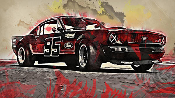 Painting - Ford Mustang Rtr, 1966 - 42 by Andrea Mazzocchetti