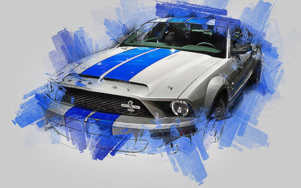 Painting - Ford Mustang Shelby Gt500 - 01 by Andrea Mazzocchetti