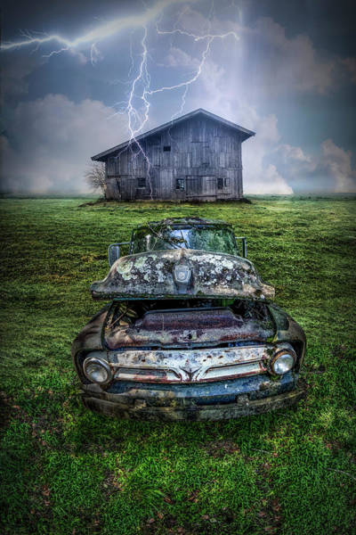 Photograph - Ford Pickup In A Country Lightning Storm by Debra and Dave Vanderlaan