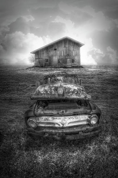 Wall Art - Photograph - Ford Pickup In The Country In Black And White by Debra and Dave Vanderlaan