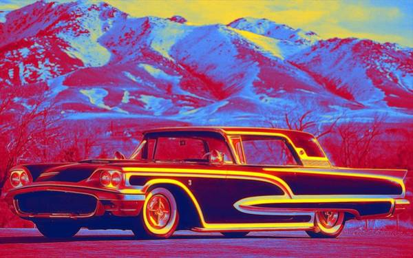 Wall Art - Painting - Ford Thunderbird 1958 Gradient Neon Coloring By Ahmet Asar, Asar Studios by Ahmet Asar