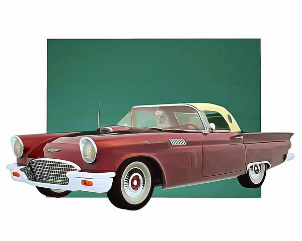 Digital Art - Ford Thunderbird With Roof by Jan Keteleer