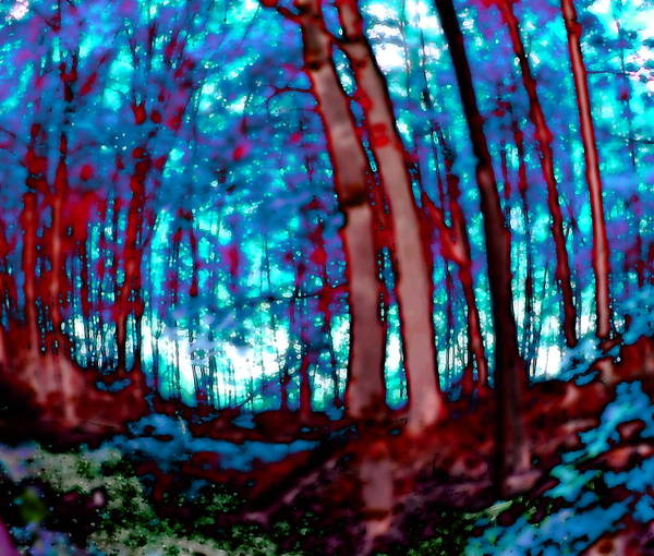 Digital Art - Forest 2040 Red And Blue by Ajp