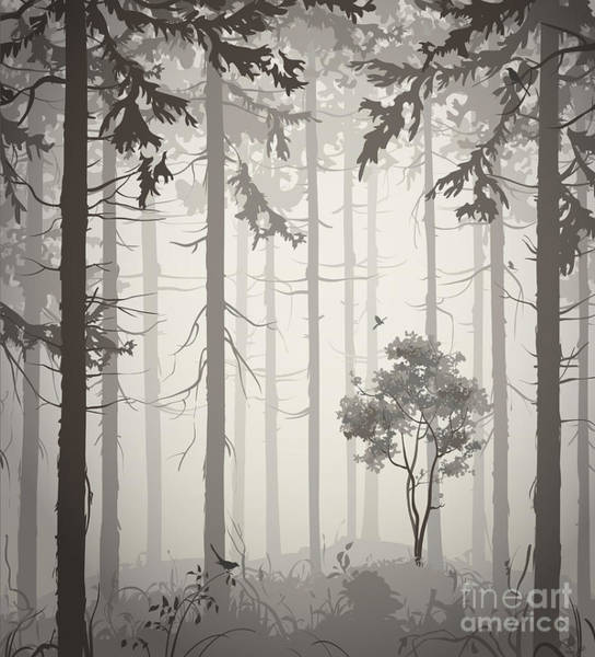 Wall Art - Digital Art - Forest Air Landscape With Birds, Light by Eva mask