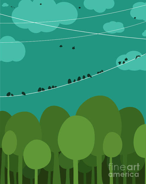 Wall Art - Digital Art - Forest And Birds Sitting On Wires by Popmarleo