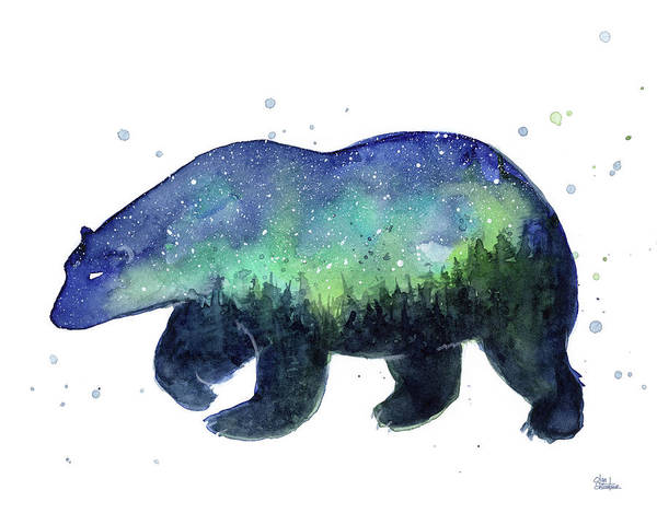 Constellation Wall Art - Painting - Forest Bear Galaxy by Olga Shvartsur