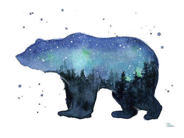 Constellation Wall Art - Painting - Forest Bear Watercolor Galaxy by Olga Shvartsur