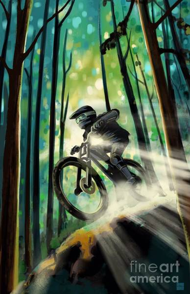 Wall Art - Painting - Forest Jump Mountain Biker by Sassan Filsoof