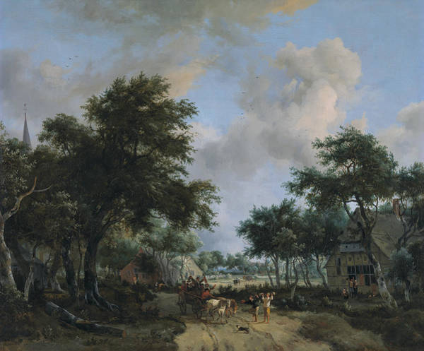 Meindert Hobbema Painting - Forest Landscape With A Merry Company In A Cart  by Meindert Hobbema