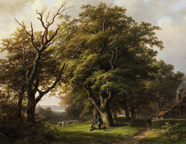Farmstead Painting - Forest Landscape With Sheep by Johann Bernard Klombeck