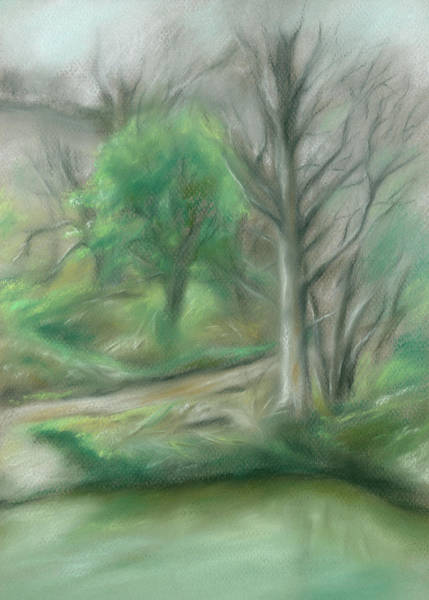 Pastel - Forest Lane By A Pond by MM Anderson