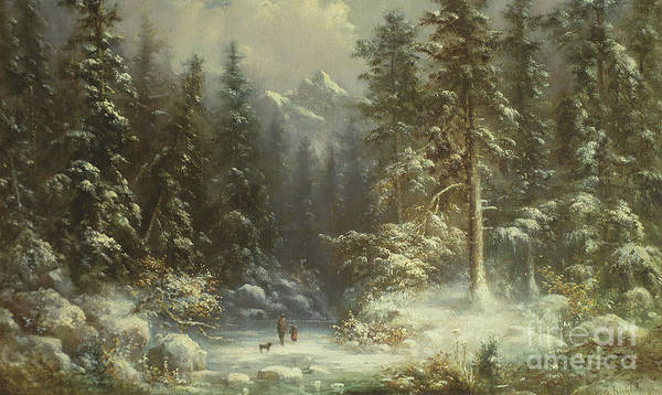 Wall Art - Painting - Forest Snow Scene, 19th Century by Oswald Richter