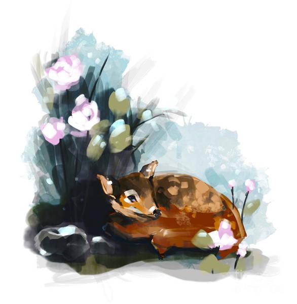 Blue Rose Digital Art - Forest Wildlife Art Illustration. Deer by Rana Des