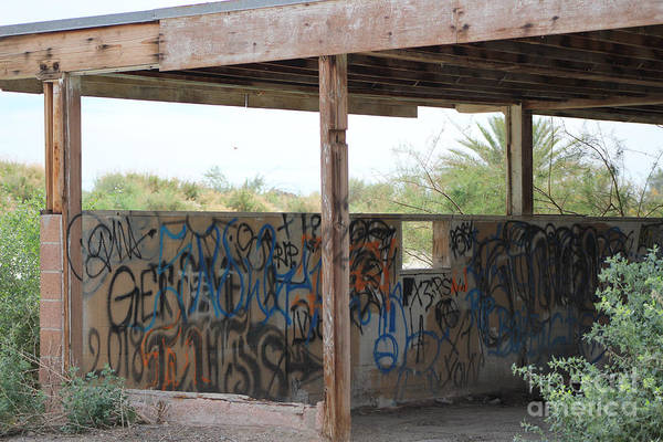 Photograph - Forgotten Building Covered In Graffiti Salton Sea by Colleen Cornelius