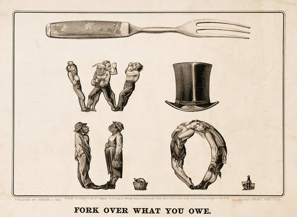 Wall Art - Painting - Fork Over What You Owe, 1868 by American School