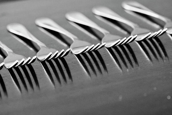 Texas A Photograph - Forks In A Row On A Table by Stephanie Mull Photography