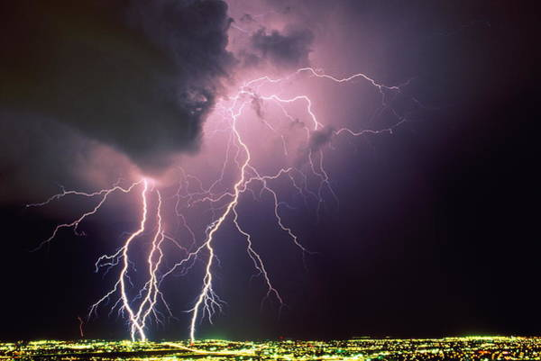 Tucson Photograph - Forks Of Lightning Over City,illu- by Ralph Wetmore