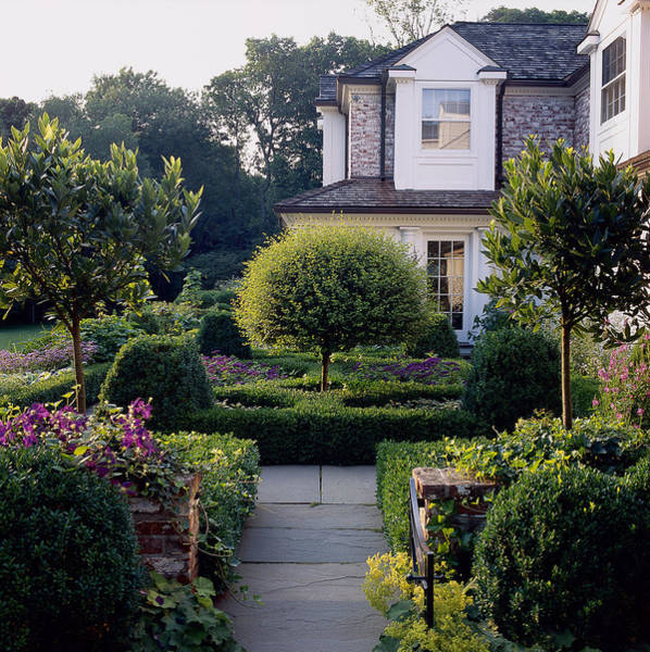 Fortified Wall Art - Photograph - Formal Garden With Infront Of House by Richard Felber