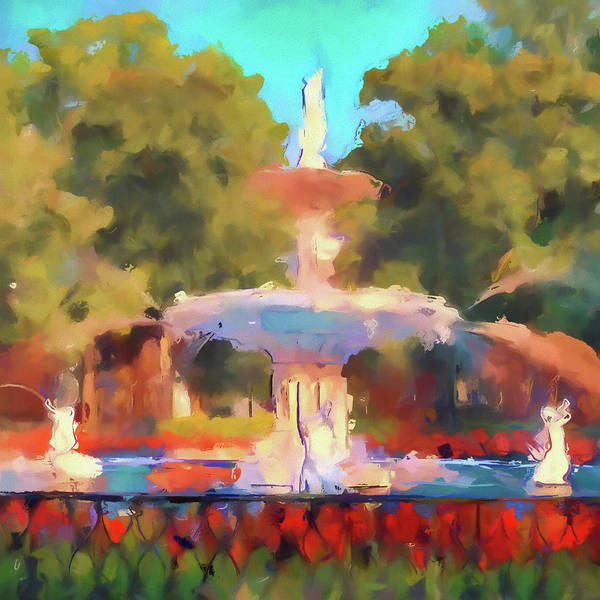 Wall Art - Painting - Forsyth Watercolor Fountain by Dan Sproul