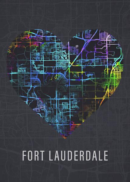 Wall Art - Mixed Media - Fort Lauderdale Florida City Heart Street Map Love Dark Mode by Design Turnpike