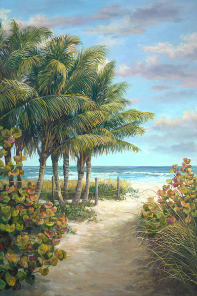 Sea Oats Painting - Fort Myers Beach Walk by Laurie Snow Hein