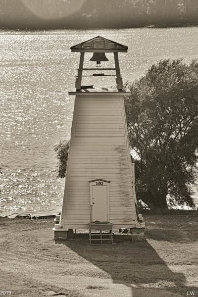 Photograph - Fort Washington Park Lighthouse Black And White by Lisa Wooten