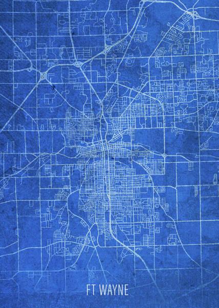 Wall Art - Mixed Media - Fort Wayne Indiana City Street Map Blueprints by Design Turnpike