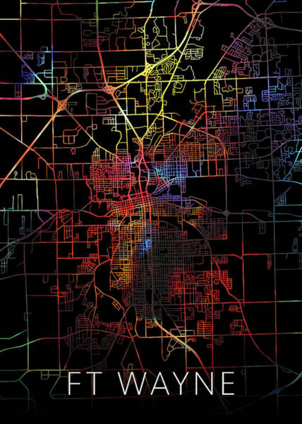 Wall Art - Mixed Media - Fort Wayne Indiana Watercolor City Street Map Dark Mode by Design Turnpike