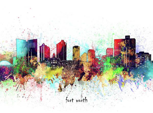 Wall Art - Digital Art - Fort Worth Skyline Artistic by Bekim M