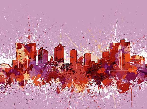 Fort Worth Digital Art - Fort Worth Skyline Artistic Red by Bekim M