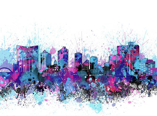 Fort Worth Digital Art - Fort Worth Skyline Color Splatter by Bekim M