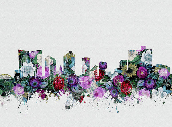 Fort Worth Digital Art - Fort Worth Skyline Floral 2 by Bekim M