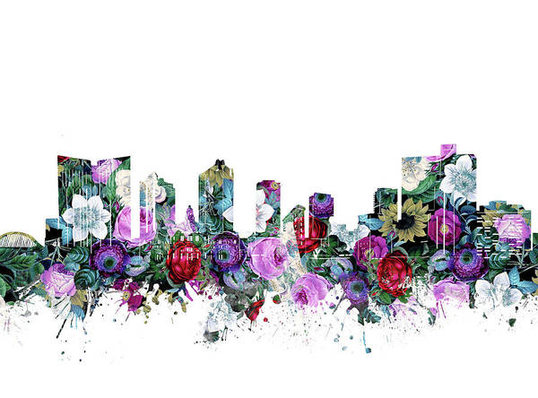 Fort Worth Digital Art - Fort Worth Skyline Floral by Bekim M