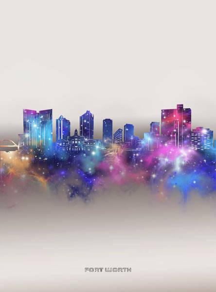 Wall Art - Digital Art - Fort Worth Skyline Galaxy by Bekim M