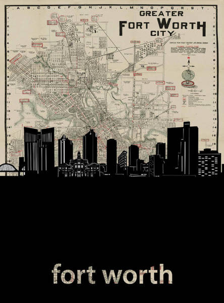 Fort Worth Digital Art - Fort Worth Skyline Map by Bekim M