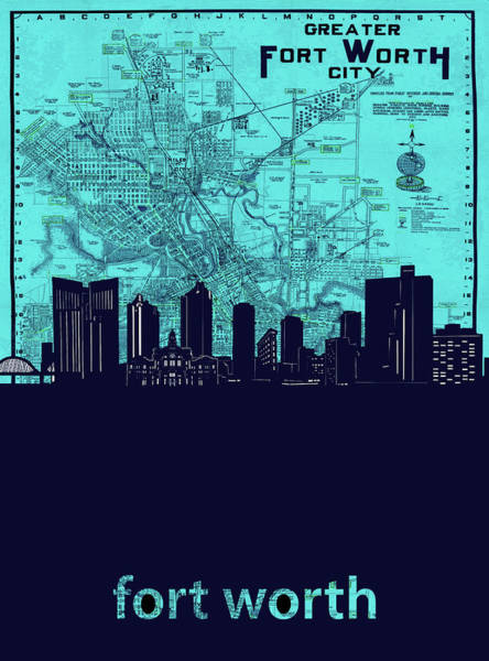 Fort Worth Digital Art - Fort Worth Skyline Map Blue 2 by Bekim M