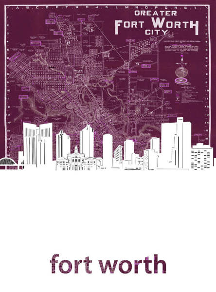 Fort Worth Digital Art - Fort Worth Skyline Map Red by Bekim M
