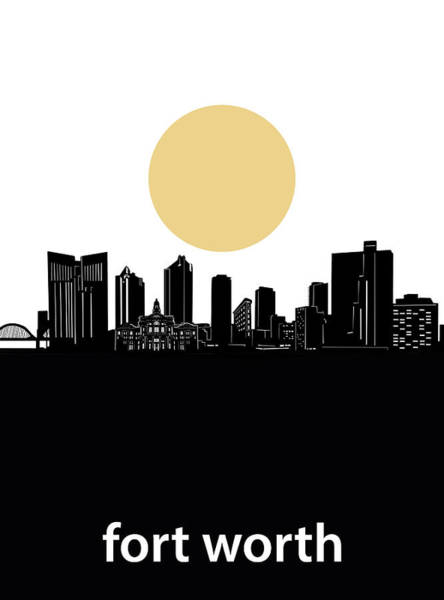 Fort Worth Digital Art - Fort Worth Skyline Minimalism by Bekim M