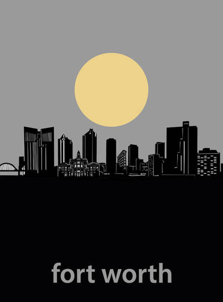 Fort Worth Digital Art - Fort Worth Skyline Minimalism Grey by Bekim M