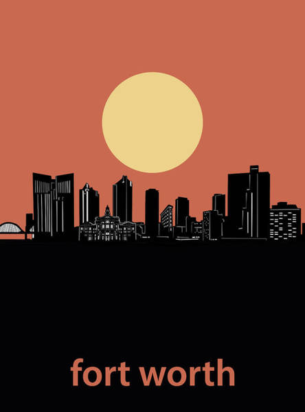 Fort Worth Digital Art - Fort Worth Skyline Minimalism Orange by Bekim M