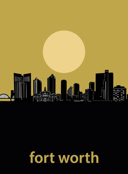 Fort Worth Digital Art - Fort Worth Skyline Minimalism Yellow by Bekim M