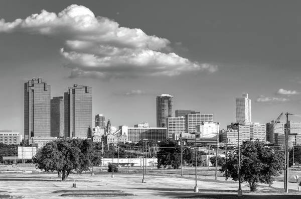 Photograph - Fort Worth Skyline Monochrome 621919 by Rospotte Photography