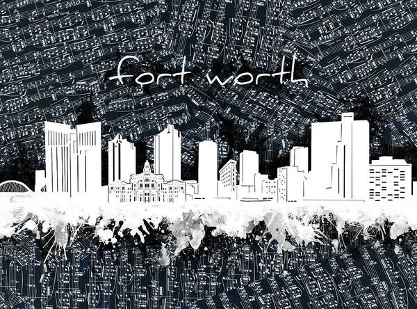 Fort Worth Digital Art - Fort Worth Skyline Music Sheet 2 by Bekim M