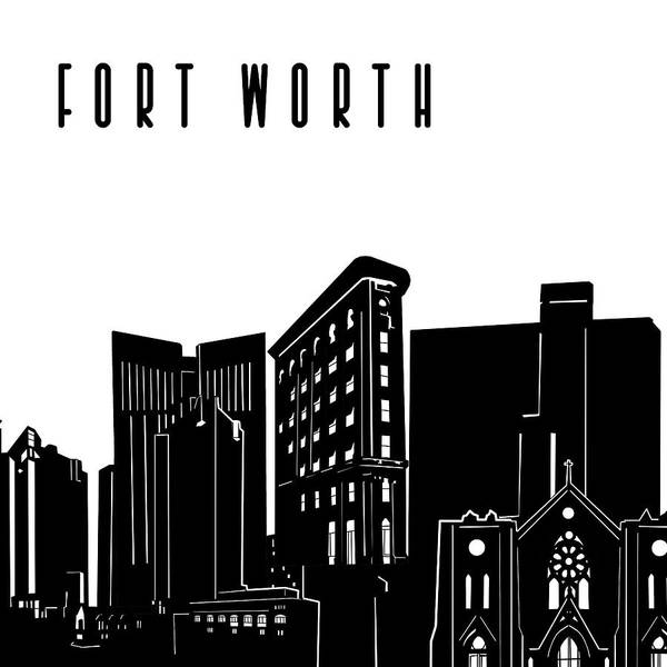 Fort Worth Digital Art - Fort Worth Skyline Panorama by Bekim M