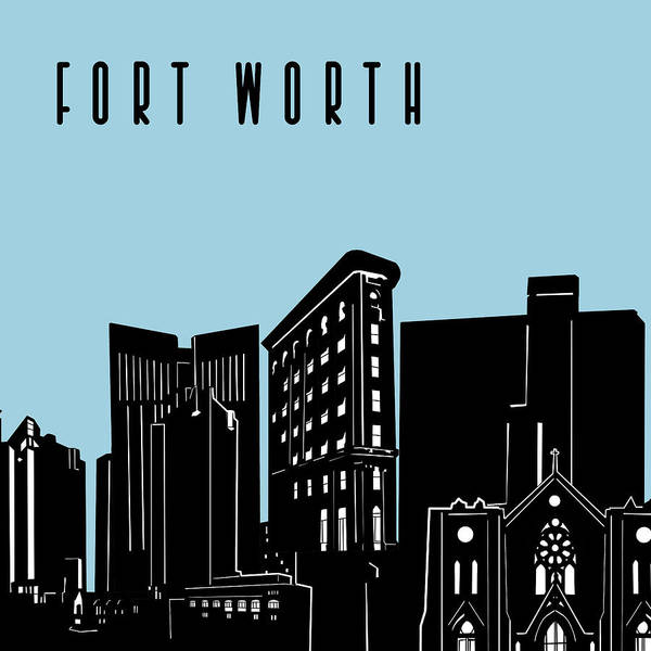 Fort Worth Digital Art - Fort Worth Skyline Panorama Blue by Bekim M
