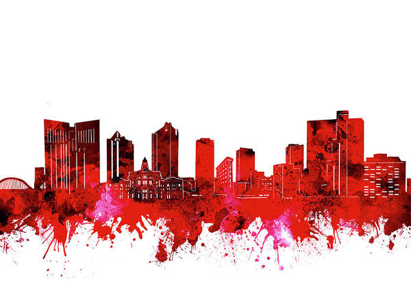 Fort Worth Digital Art - Fort Worth Skyline Red by Bekim M