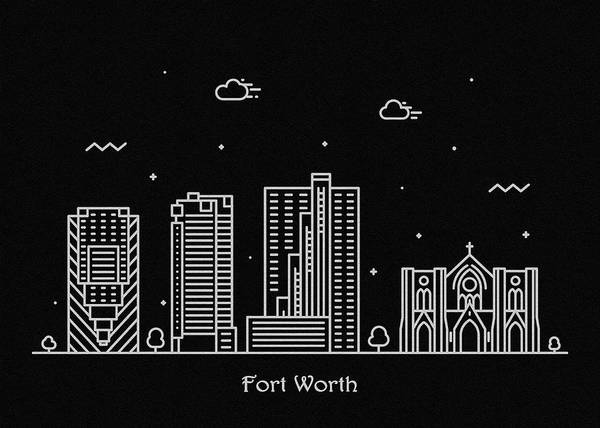 Fort Worth Digital Art - Fort Worth Skyline Travel Poster by Inspirowl Design